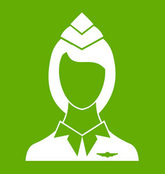 stewardess icon green vector image