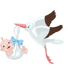 Stork And Baby Boy vector image vector image