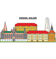 sweden malmo city skyline architecture vector image
