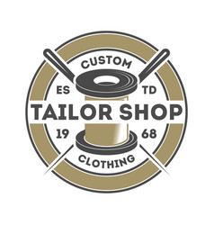 Tailor shop vintage isolated logo vector