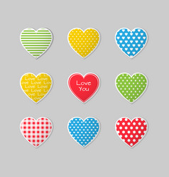 this is a set of colorful heart icons vector image