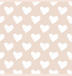 tile pattern with white hand-drawn hearts vector image