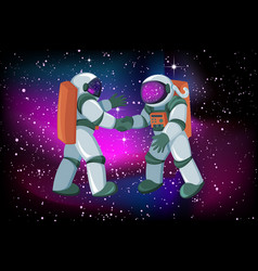 two astronauts meeting and handshake on space vector image
