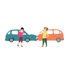 two men with cars accident cartoon vector image