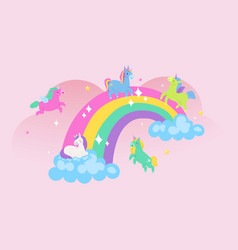 unicorns on rainbow children s poster cute vector image