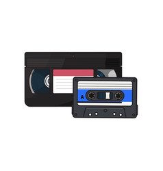 Video and audio cassettes vhs and audiotape from vector