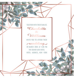 Wedding invitation with eucalyptus vector