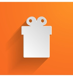 white gift box on the orange background vector image