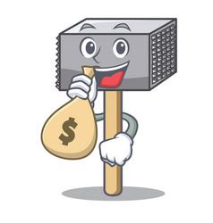 with money bag character of metallic meat vector image