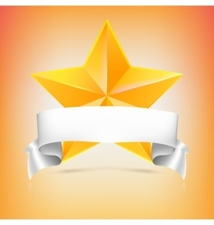 Yellow star with ribbon vector image