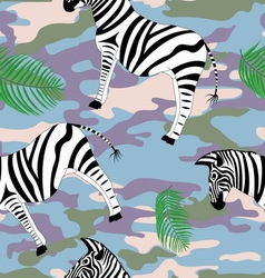 Zebra and palm leaves on the military background vector
