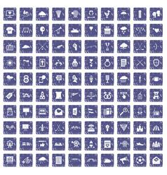 100 arrow icons set grunge sapphire vector image vector image