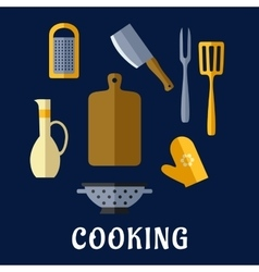 Food utensils and kitchenware flat icons vector image vector image