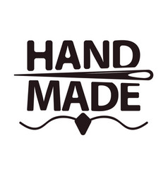 Hand made shop logotype with big sign and needle vector