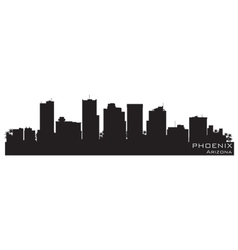 phoenix arizona skyline detailed silhouette vector image