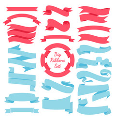 ribbons banners set of blue and red vector image vector image
