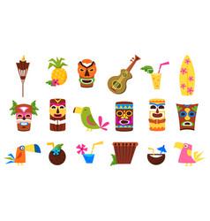 symbols of hawaii set tiki tribal masks tropical vector image