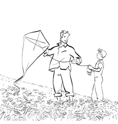 Dad and son flying a kite vector image