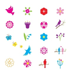 Flowers and birds icons vector image