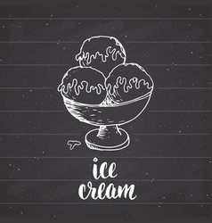 ice cream with lettering sketch vintage label vector image
