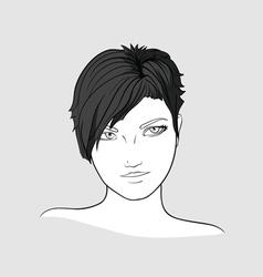 Portrait of brunette girlwith short hair vector image vector image