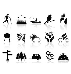 black park and garden icons set vector image