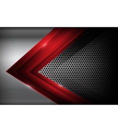 Dark chrome steel and red overlap element abstract vector image