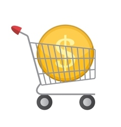 Flat Supermarket Cart Icon with Golden Coin Money vector image