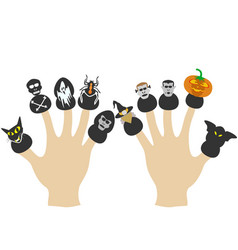 hands with halloween puppets vector image