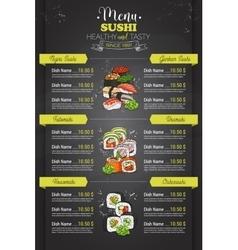 Restaurant vertical color sushi menu vector image vector image