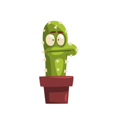 puzzled cactus character in a clay pot succulent vector image vector image