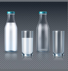 realistic glass bottles and glasses with milk vector image vector image