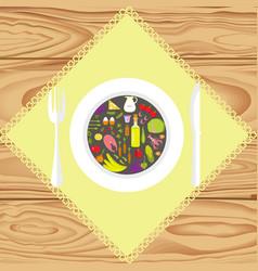 set of healthy food vector image