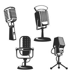set of retro microphones vector image