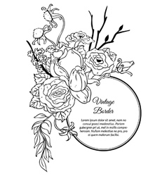 Vintage round border bouquet of flowers vector