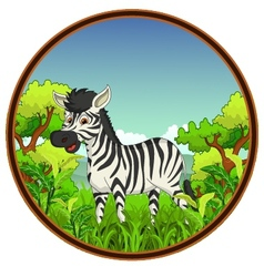 zebra with forest background vector image