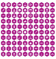 100 adventure icons hexagon violet vector image
