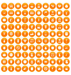 100 vegetarian cafe icons set orange vector