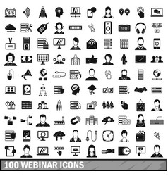 100 webinar icons set simple style vector