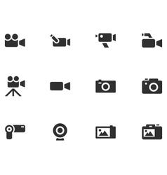 12 Camera Icons vector image