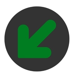 Arrow Down Left flat green and gray colors round vector