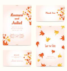 autumn wedding invitation template vector image