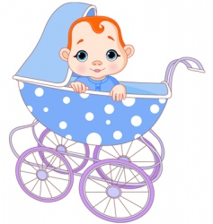 baby boy in carriage vector image
