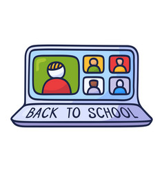 Back to school online education concept with vector
