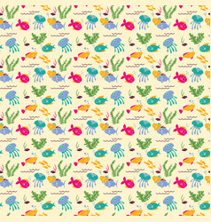 background with cartoon sea fishes and plants vector image