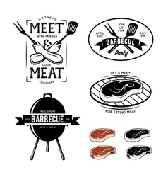Barbecue related labels badges and design vector image vector image