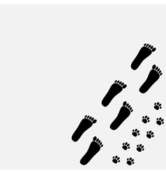 Bare foot print and paw print in the corner vector