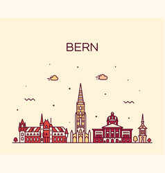 bern skyline switzerland city linear style vector image