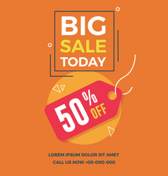 big sale today flyer for social media banners vector image