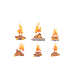 Bonfire collection burning wooden logs campfire vector